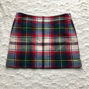Plaid J CREW Wool Blend Skirt